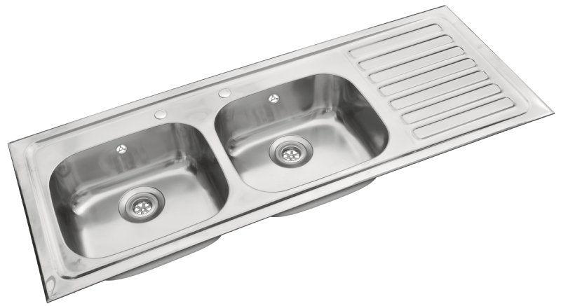 Pyramis double bowl single drainer sink