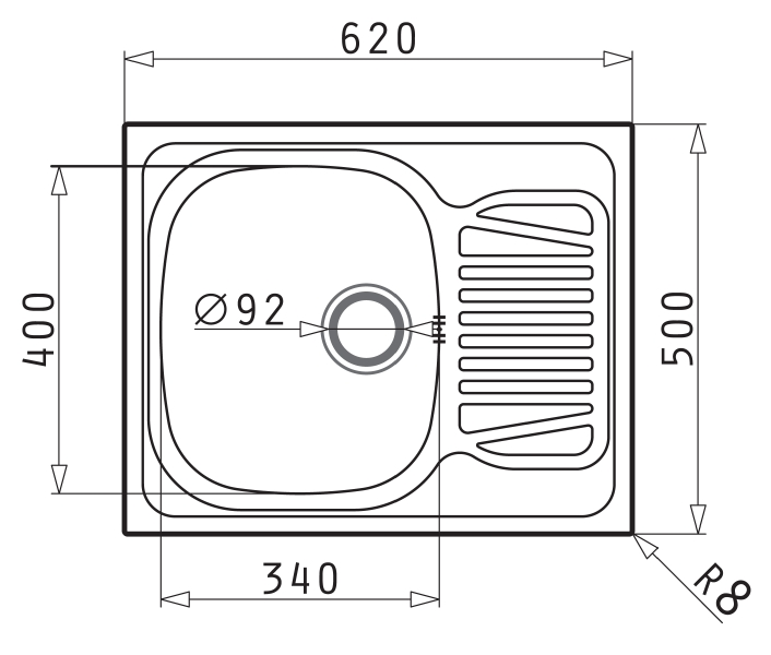 Pyramis Sparta compact single bowl sink