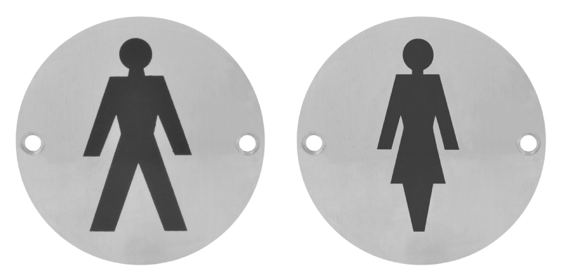 Circular disc toilet door symbol