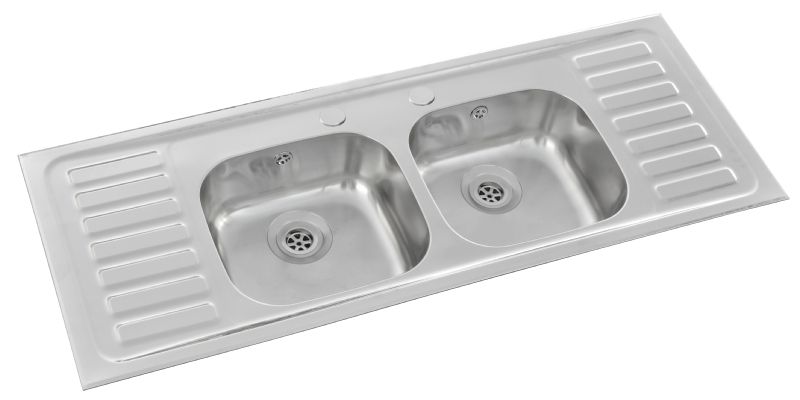 Pyramis double bowl double half drainer sink