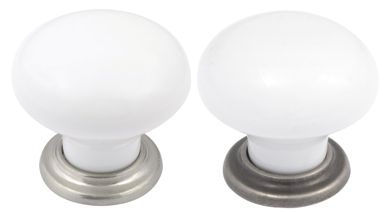 Valencia white porcelain knobs