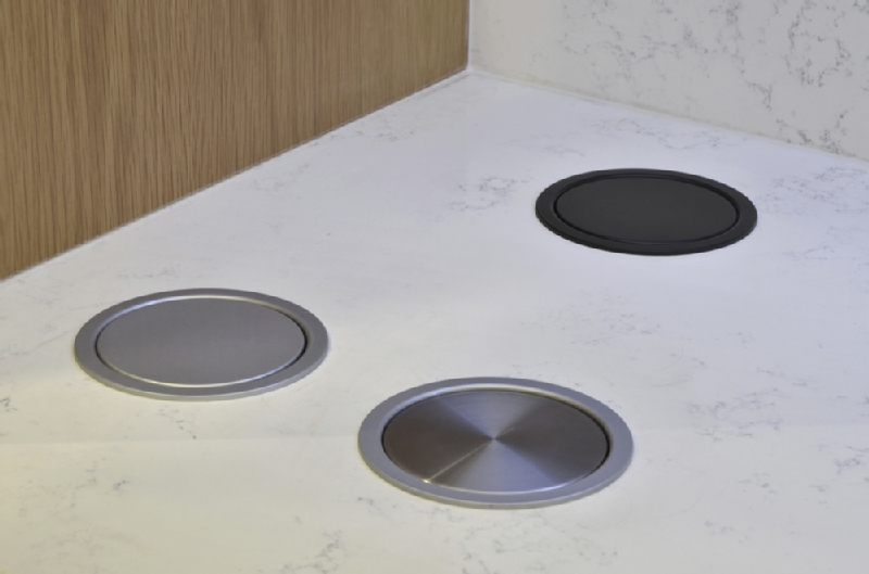 Worktop pop up socket brushed steel