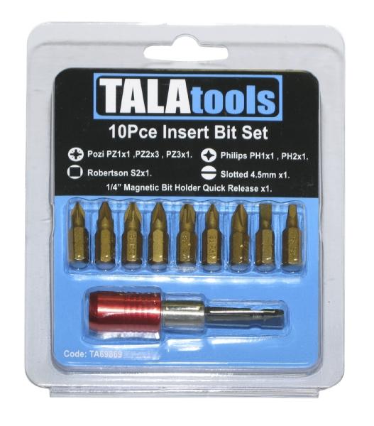 Tala 10 piece insert bit set