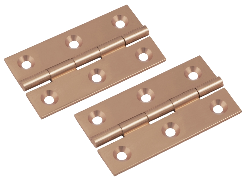 Polished copper solid brass butt hinge