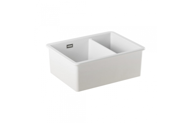 Sanindusa White Ceramic Undermount 1 1/2 Bowl Sink