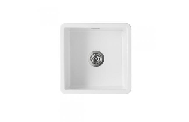 Sanindusa white ceramic undermount square sink