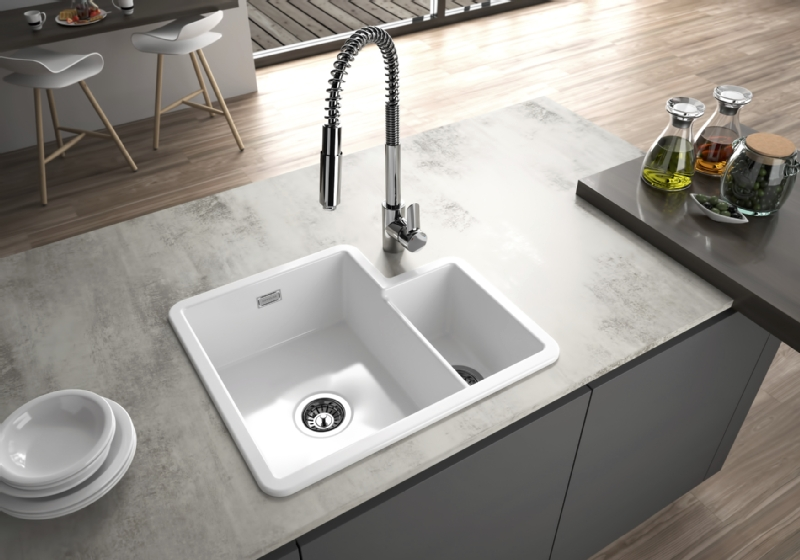 Sanindusa White Ceramic Undermount 1 1/3 Bowl Sink
