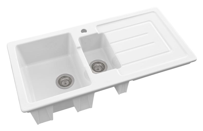 Sanindusa Reno 1.5 bowl white ceramic sinks modern style