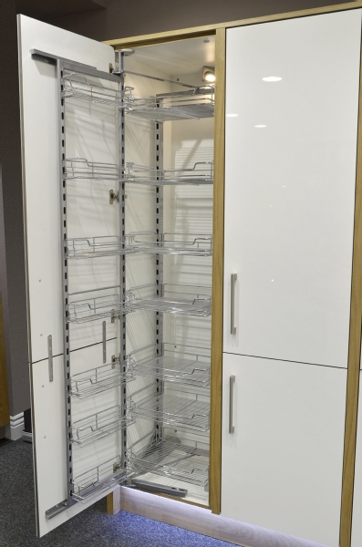 Chrome pull out wire baskets with soft close runners Pantry 800mm