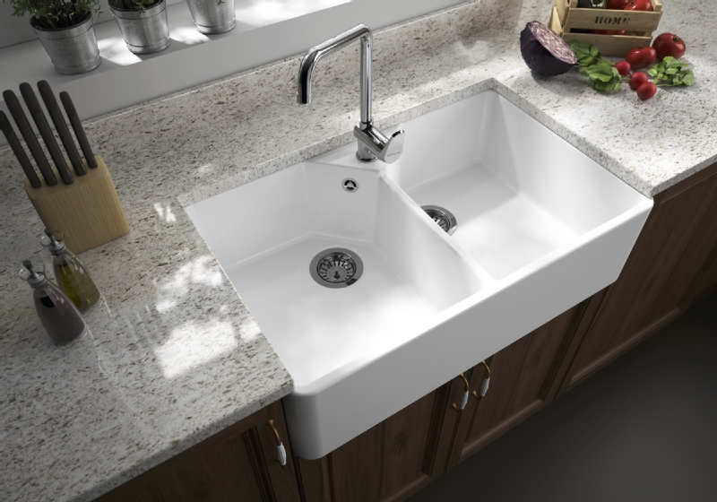 Sanindusa White Ceramic Double Bowl Belfast Sink Dublin
